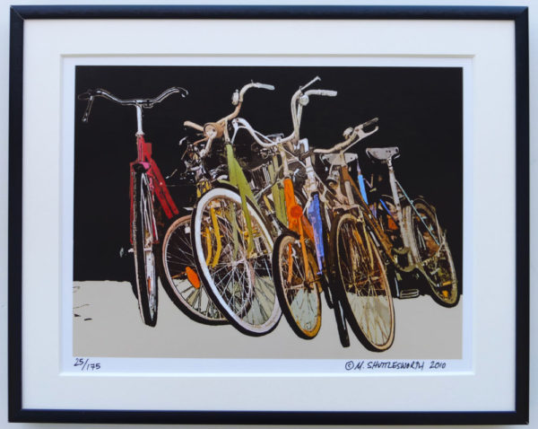 8x10 Group of Bicycles framed