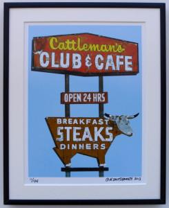 8x10 Cattleman's Club & Cafe Framed