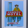8x10 Cowboy Motel Sign Framed