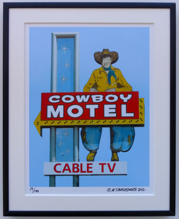 8x10 Cowboy Motel Sign Framed