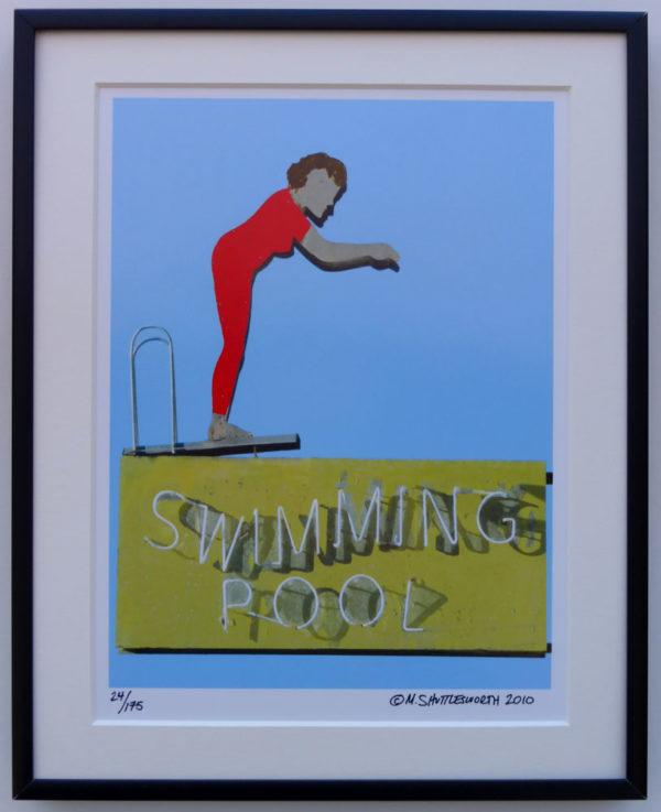 8x10 Swimming Pool Vintage Neon Framed