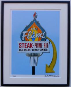 8x10 The Flame Restaurant Framed