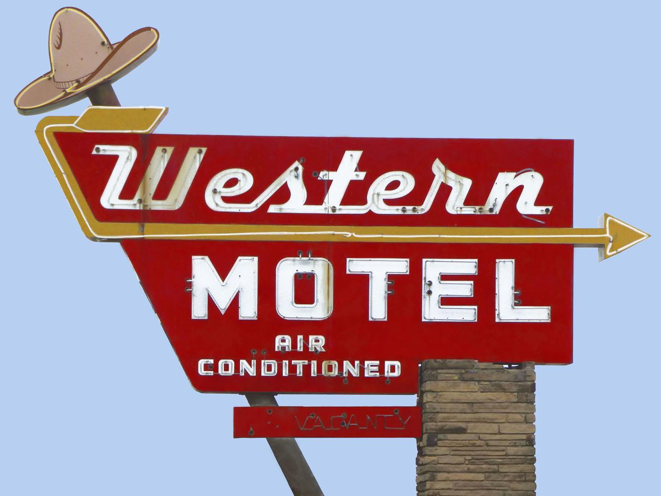 Western Motel Vintage Neon Sign Photo