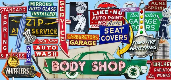 Fine art photography of vintage neon signs from the USA with a car theme.