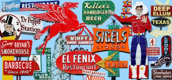 Fine art photography of vintage neon signs in Dallas Fort Worth TX.